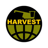 Harvest logo. Agriculture emblem. combine harvester and Earth. F Stock Photos