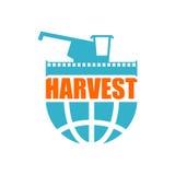 Harvest logo. Agriculture emblem. combine harvester and Earth. F Stock Images