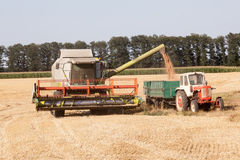 Harvest machine loading seeds Royalty Free Stock Images