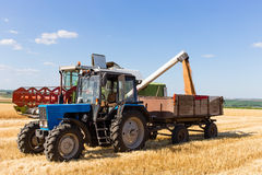 Harvest machine loading seeds in to trailer. Stock Photo