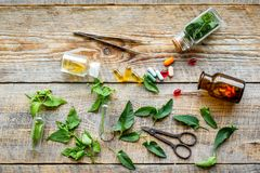 Harvest medicinal herb. Leaves, bottles and sciccors on wooden background top view Royalty Free Stock Image