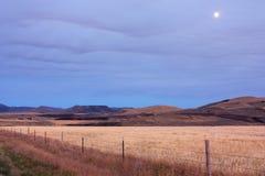 Harvest moon. Farm land near Wolverine Canyon, Foothills of Blackfoot Idaho Royalty Free Stock Images