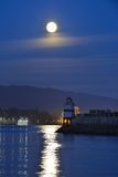 Harvest Moon and brockton point Lighthouse Stock Photos