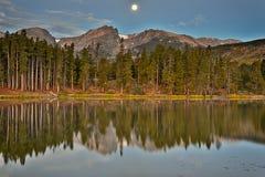 Harvest Moon, Hallett Peak, Sprague Lake, Rocky Mountain Nationa Stock Images