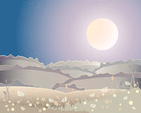 Harvest moon landscape. An illustration of a harvest moon landscape with rolling hills and flowers under a starry sky Royalty Free Stock Photography