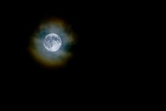 Harvest moon through light clouds. Royalty Free Stock Photos