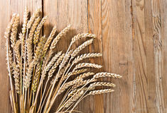 Harvest on old wooden table Royalty Free Stock Photography