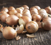 Harvest onions in sack on wooden background Stock Photos