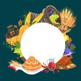 Harvest organic foods like fruit and vegetables, happy thanksgiving dinner card or banner background, harvesting grapes Royalty Free Stock Photography