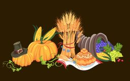 Harvest organic foods like fruit and vegetables, happy thanksgiving dinner card or banner background, harvesting grapes Stock Photo