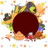 Harvest organic foods like fruit and vegetables, happy thanksgiving dinner card or banner background, harvesting vector Royalty Free Stock Photos