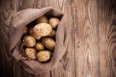 Harvest potatoes in burlap sack Royalty Free Stock Photos