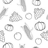 Harvest pumpkin apple grapes corn graphic art seamless pattern black white illustration Stock Image