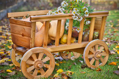 Harvest pumpkins in a wooden cart Stock Image