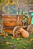 Harvest pumpkins in a wooden cart Stock Photo