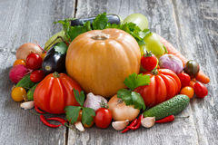 Harvest of seasonal fresh vegetables on a wooden background Stock Photos