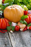Harvest of seasonal fresh vegetables on wooden table Stock Photography