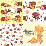 Harvest set, organic foods like fruit and vegetables, happy thanksgiving dinner background, vector illustration Stock Image