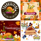 Harvest set, organic foods like fruit and vegetables, happy thanksgiving dinner background, vector illustration Stock Images