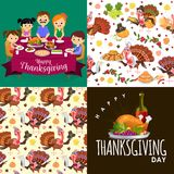 Harvest set, organic foods like fruit and vegetables, happy thanksgiving dinner background, vector illustration Stock Photo