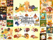 Harvest set, organic foods like fruit and vegetables, happy thanksgiving dinner background, vector illustration Royalty Free Stock Images
