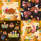 Harvest set, organic foods like fruit and vegetables, happy thanksgiving dinner background, vector illustration Stock Photos