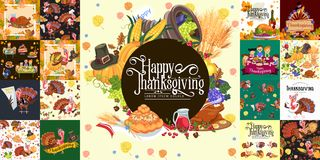Harvest set, organic foods like fruit and vegetables, happy thanksgiving dinner background, vector illustration Stock Photography
