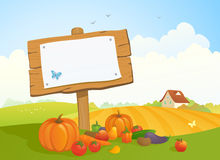 Harvest signboard. Illustration of an autumn harvest landscape with a wooden signboard Stock Image