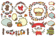 Harvest template set.Fruits,berries,mushrooms, Stock Photos