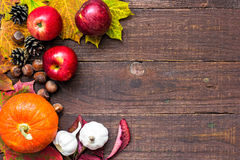 Harvest or thanksgiving background with autumnal fruits and vegetables Stock Image