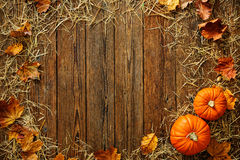 Harvest or Thanksgiving background with gourds and straw Royalty Free Stock Photos