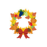 Harvest thanksgiving wreath. On the white background. Vector illustration Stock Photography