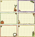 Harvest-theme Recipe Cards Stock Images