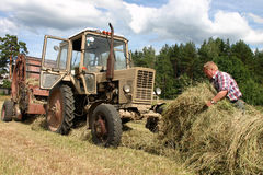 Harvest time hay, russian farmer tractor-driver working in hayfi Stock Photo