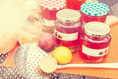 Harvest time - homemade apple jelly Royalty Free Stock Images