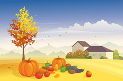 Harvest time. Illustration of a harvest day at the farm Stock Images