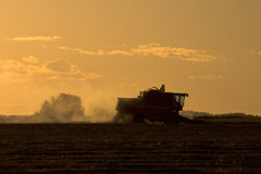 Harvest Time at Sunset. The fall harvest at sunset on the prairies of Canada royalty free stock images