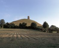 Picturesque Somerset - Glastonbury Tor. Harvest time view of Glastonbury Tor, Somerset, England, UK, Europe Royalty Free Stock Images