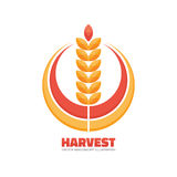 Harvest - vector logo template concept illustration in flat style. Ear of wheat and rings sign. Design element Stock Images