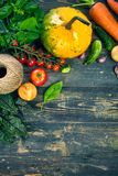 Harvest vegetable on old wooden board stock photography