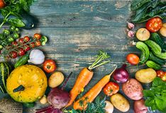 Harvest vegetable on old wooden board royalty free stock photography