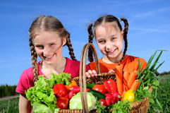 Harvest of vegetables. Two little girls with basket of vegetables Royalty Free Stock Photos