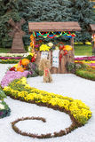 Harvest vegetables on fair trade in a wooden pavilion. Seasonal traditional ukrainian exhibition of farmers achievements. Agricult. Ural products, rural market Royalty Free Stock Photos