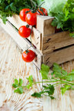 Harvest vegetables in a wooden crate Stock Images