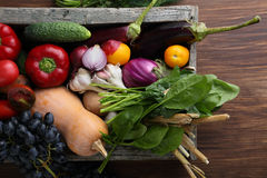 Harvest of veggies in wood crate Royalty Free Stock Photography