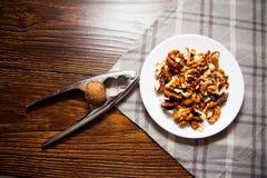 Harvest of walnuts Stock Photo