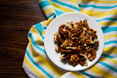 Harvest of walnuts Stock Images