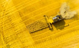 Harvest of wheat field. Aerial view to combine harvester. royalty free stock image