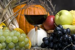 Harvest Wine. A glass of red wine with Autumn fruit stock photography