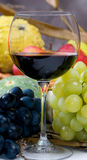 Harvest Wine. An inviting glass of red wine with grapes. Harvest wine at it's best Royalty Free Stock Image